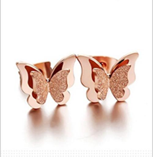 Bộ trang sức titan con bướm mạ vàng 14k - trang sức titan cao cấp