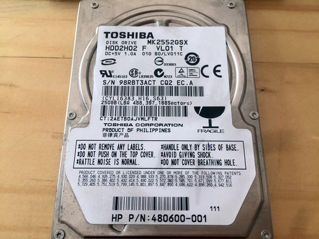 Ổ cứng laptop 250gb hiệu Toshiba (12 tháng bảo hành)