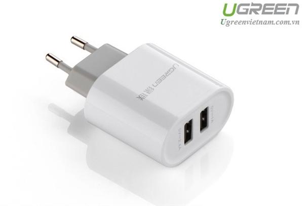 Củ sạc di động 2 cổng USB (17W/5V 3.4A) Ugreen 20384 (Màu trắng EU) chính hãng