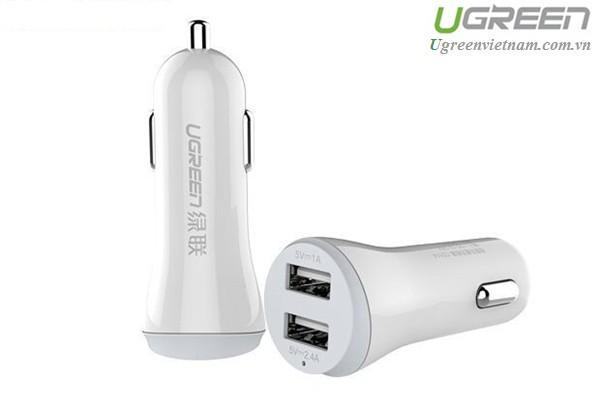 Sạc trên Ô tô 2 cổng USB chính hãng Ugreen 20393 cao cấp