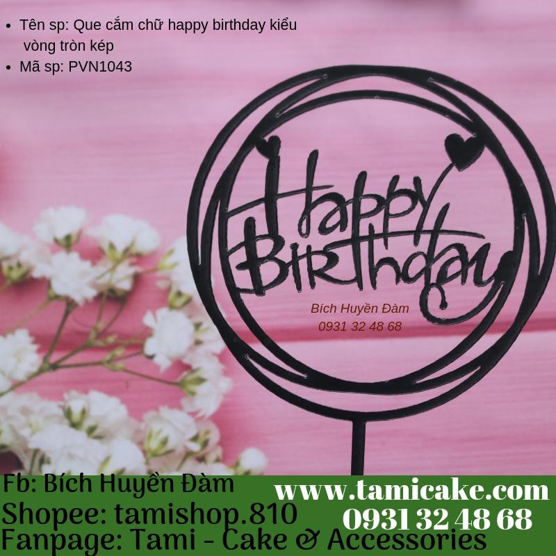 Que cắm chữ happy birthday kiểu vòng tròn kép- PVN1043
