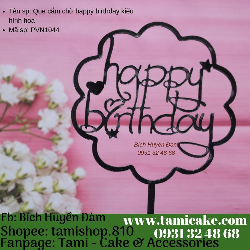 Que cắm chữ happy birthday hình hoa- PVN1044