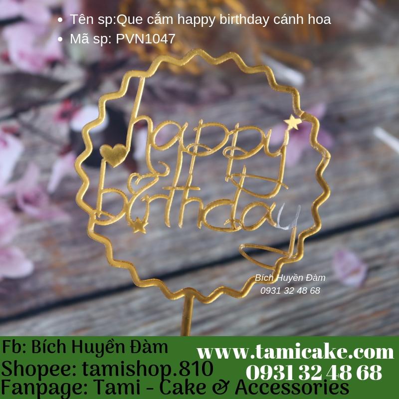 Que cắm happy birthday cánh hoa- PVN1047
