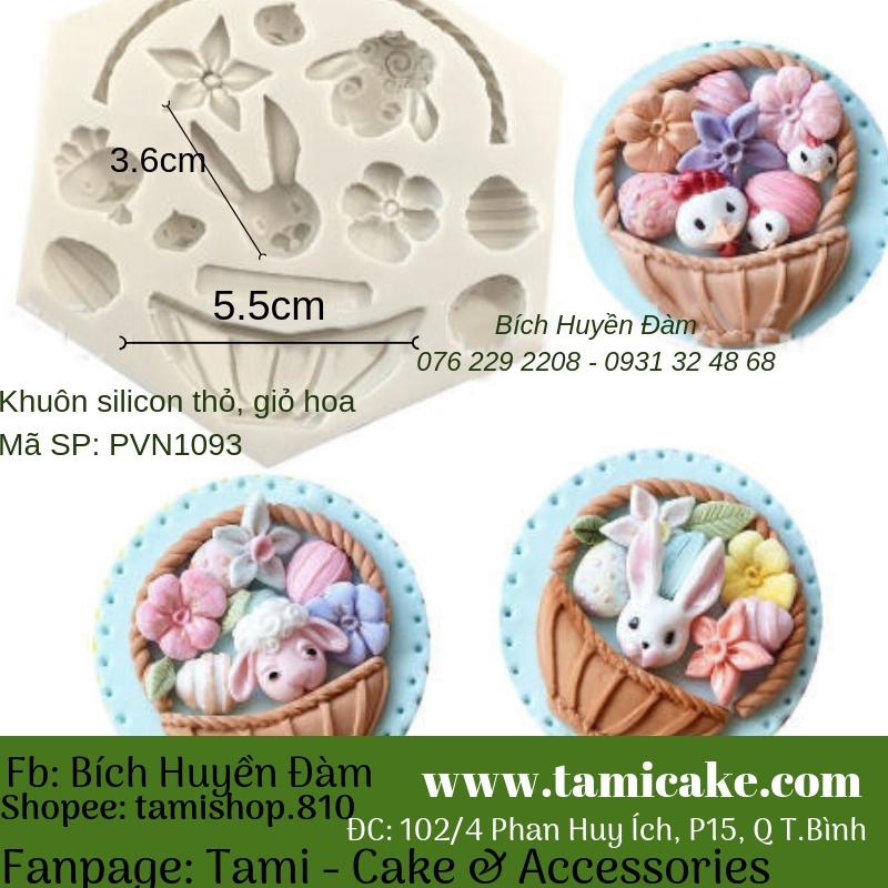 Khuôn silicon thỏ, giỏ hoa 1093