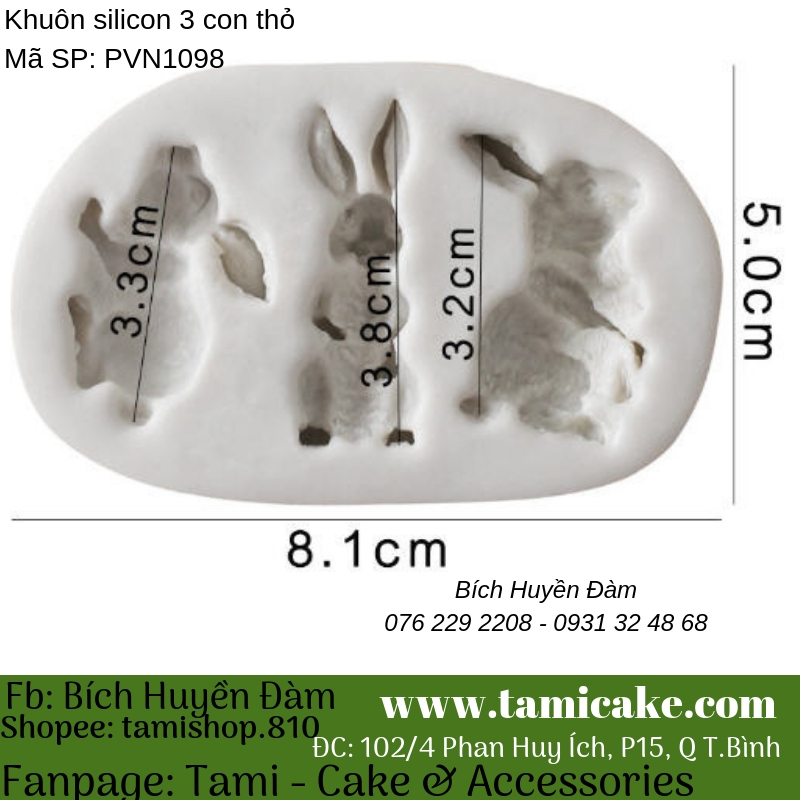 Khuôn silicon 3 con thỏ 1098