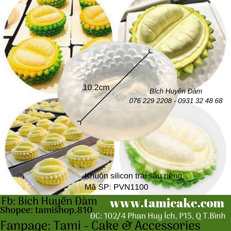 Khuôn silicon trái sầu riêng 1100