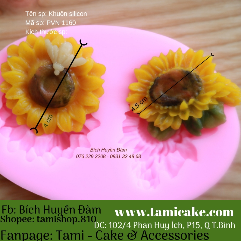 Khuôn silicon hoa hướng dương đôi - PVN1160