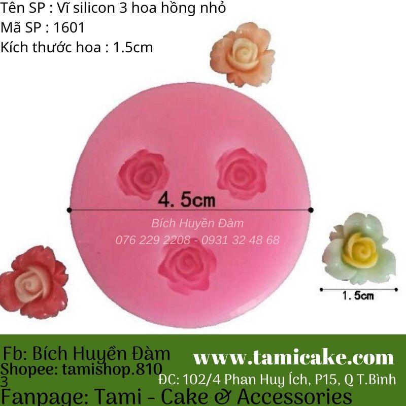 Khuôn silicon vĩ 3 hoa hồng nhỏ 1601