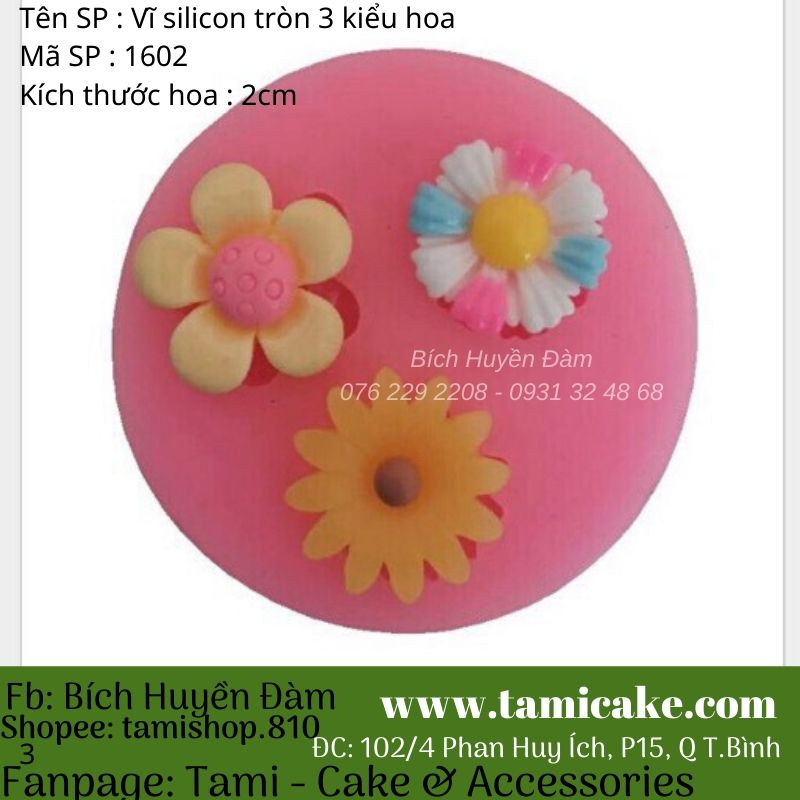 Khuôn silicon vĩ tròn 3 kiểu hoa 1602
