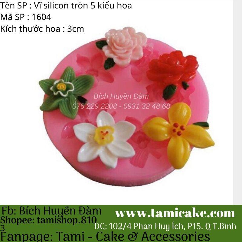 Khuôn silicon vĩ tròn 5 kiểu hoa 1604