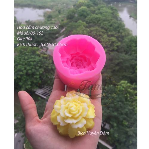 Khuôn silicon rau câu hoa nổi- Cẩm chướng cao