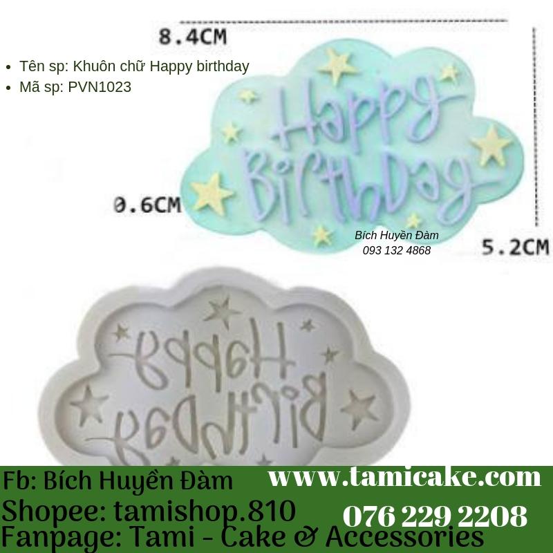 Khuôn silicon- Khuôn chữ happy birthday PVN1023