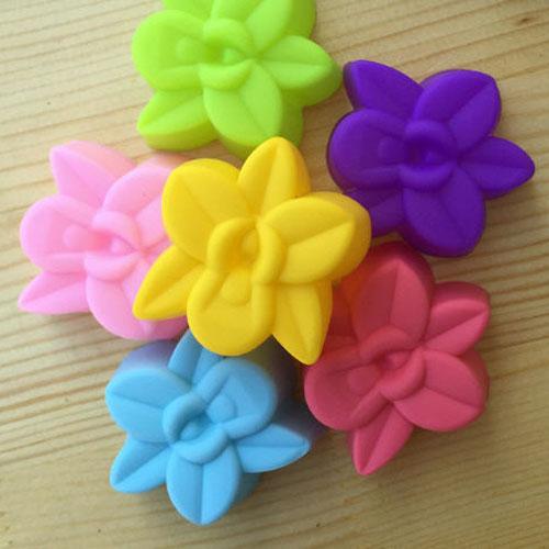 Khuôn Silicon Rau Câu Hoa Nổi - Set 10 cupcake Hoa Lan nhỏ 3cm