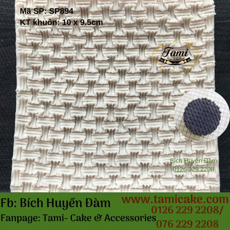 Khuôn silicon mặt đan giỏ SP894