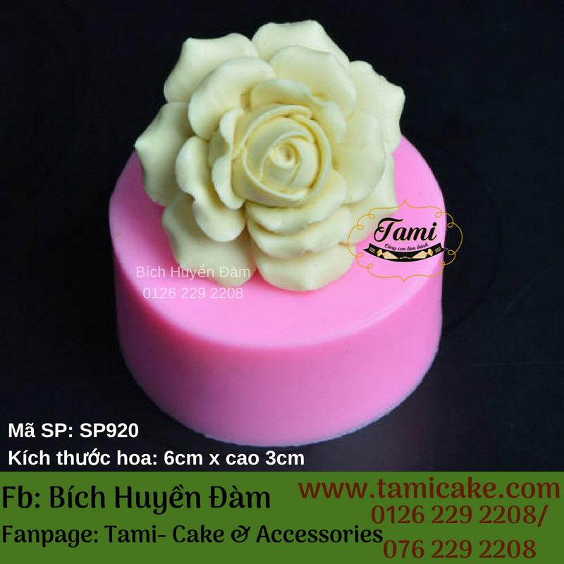 Khuôn silicon rau câu hoa nổi 4D- Hồng nở lớn xòe SP920