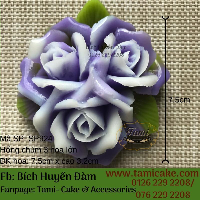 Khuôn silicon rau câu hoa nổi 4D- Hồng chùm 3 hoa lớn SP924