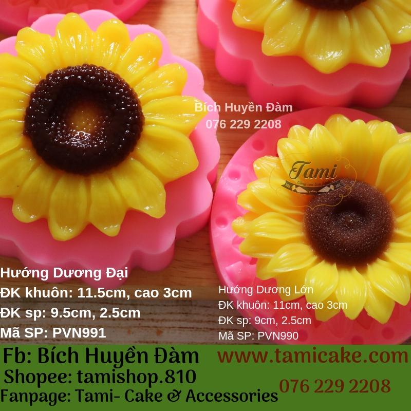 Khuôn silicon rau câu hoa nổi 4D- Hướng Dương Lớn PVN990