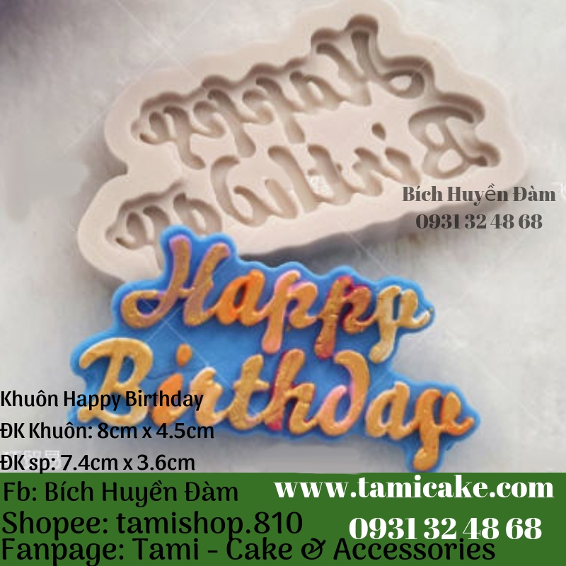 Khuôn silicon- Khuôn Happy Birthday PVN999