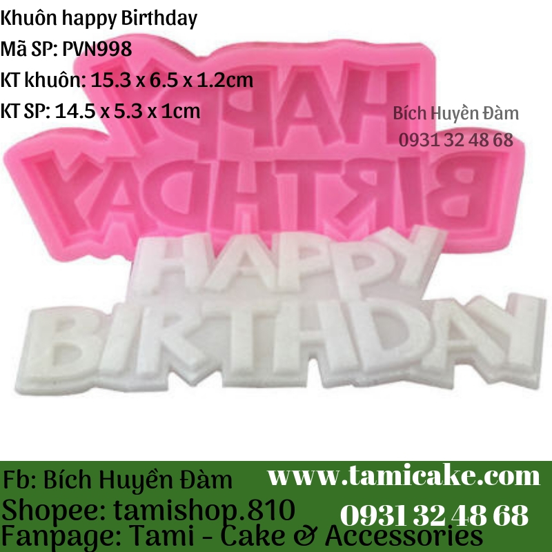 Khuôn silicon- Khuôn Happy Birthday PVN998