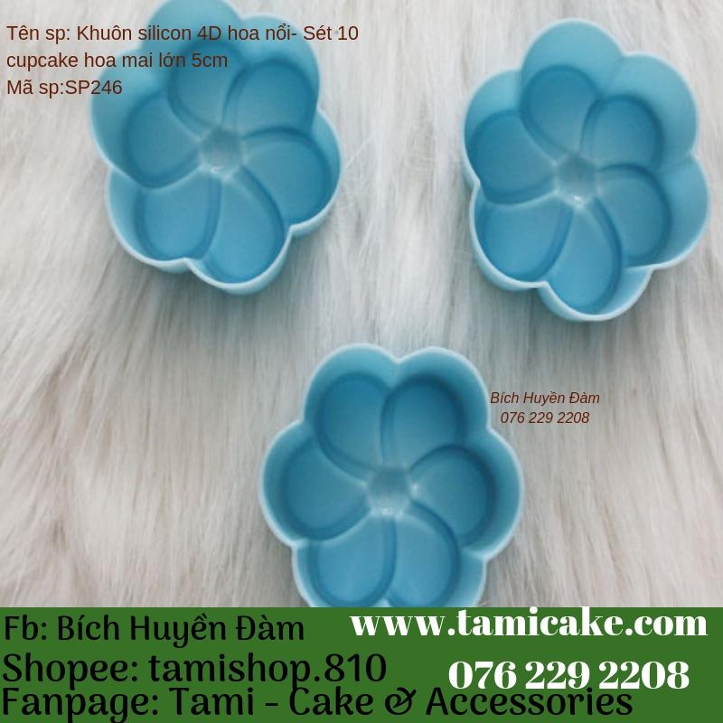 Khuôn Silicon Rau Câu Hoa Nổi - Set 10 cupcake Hoa Mai Lớn 5cm