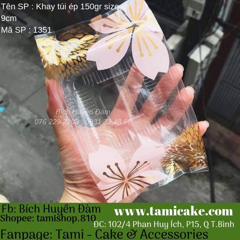 Khay túi ép bông hoa size 9cm đựng bánh 125g-150g (100bộ)