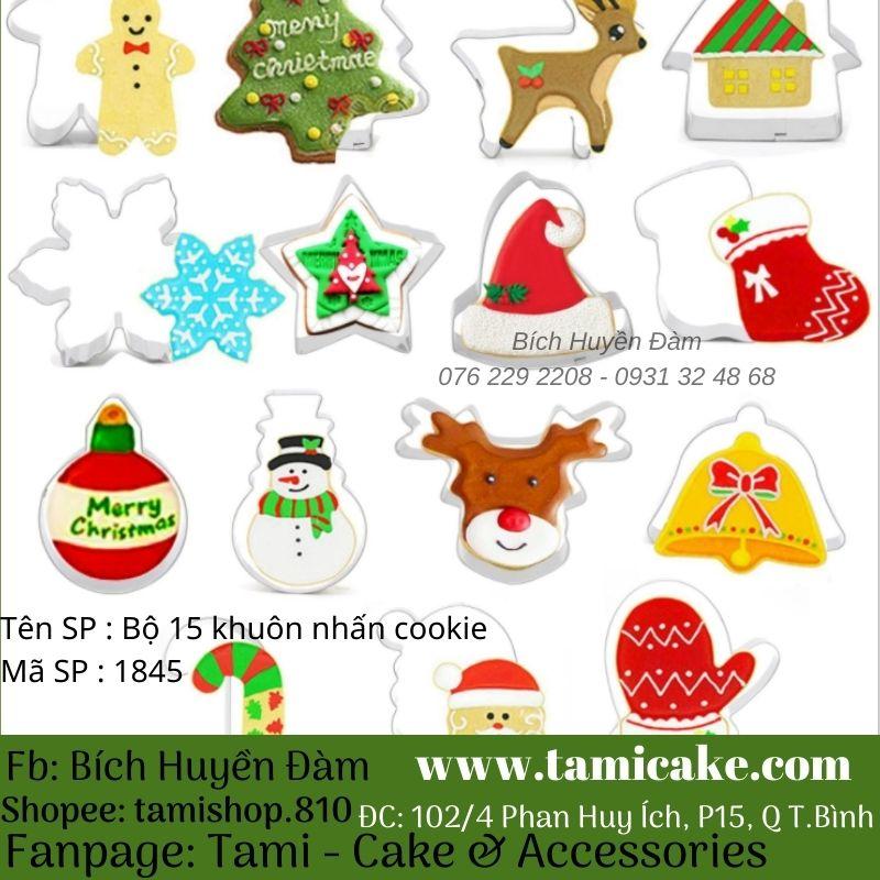 Bộ 15 khuôn nhấn cookie inox chủ đề Noel
