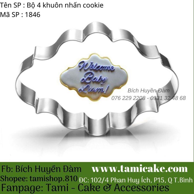 Bộ 4 khuôn nhấn cookie inox 1846