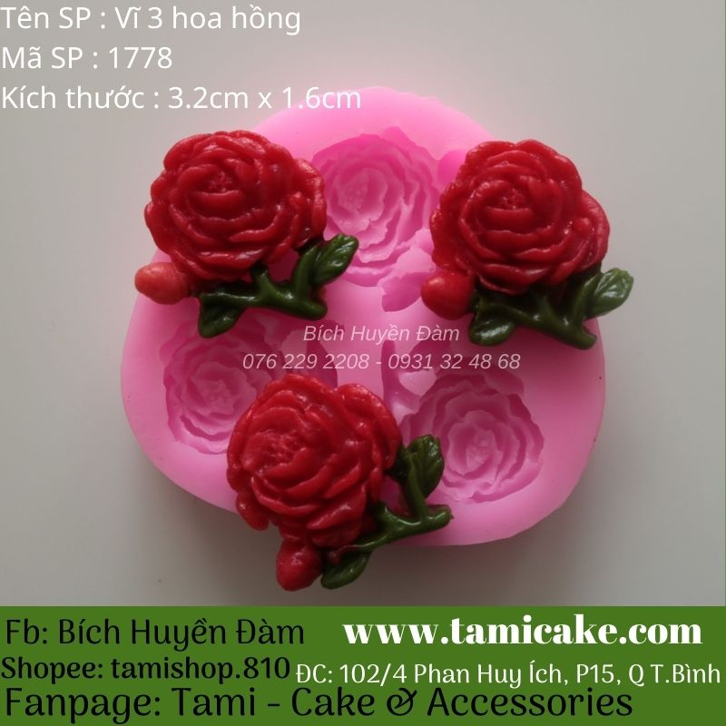 Khuôn vĩ 3 hoa hồng silicon 1778