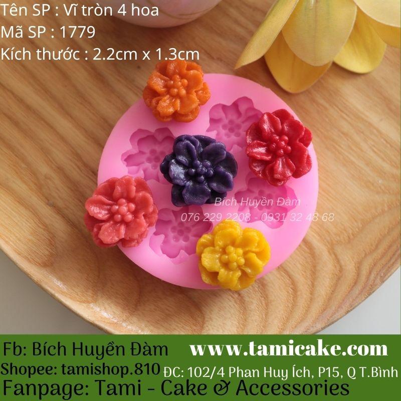 Khuôn silicon vĩ tròn 4 hoa 1779