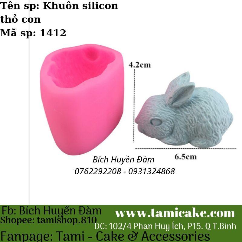 Khuôn silicon rau câu hoa nổi Thỏ con 1412