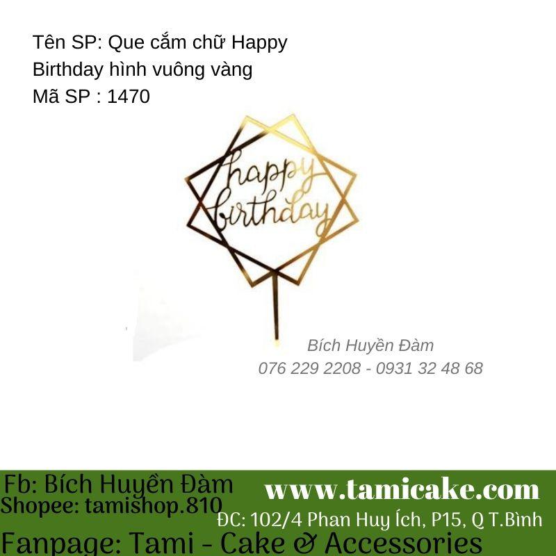 Que cắm chữ Happy Birthday vuông vàng