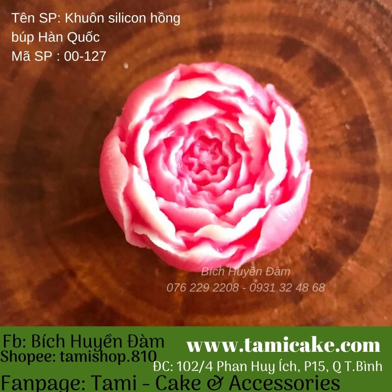 Khuôn Silicon Rau Câu Hoa Nổi - Hồng búp hàn quốc 127