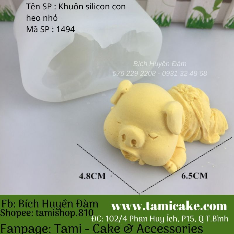Khuôn silicon con heo nhỏ 1494