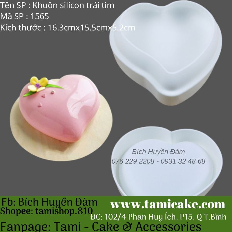 Khuôn mousse silicon trái tim 1565