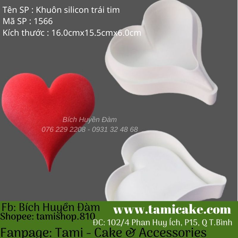Khuôn mousse silicon trái tim 1566