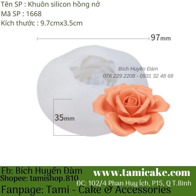 Khuôn silicon hoa hồng nở 1668