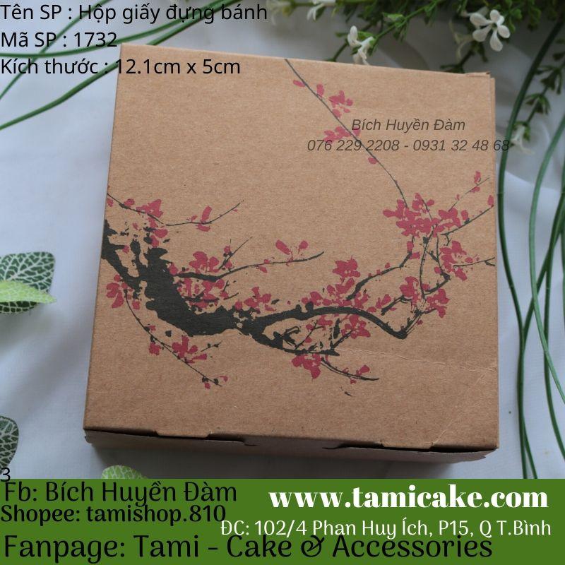 Set 10 hộp giấy vuông đựng bánh phong cách vintage (Hoa mai)