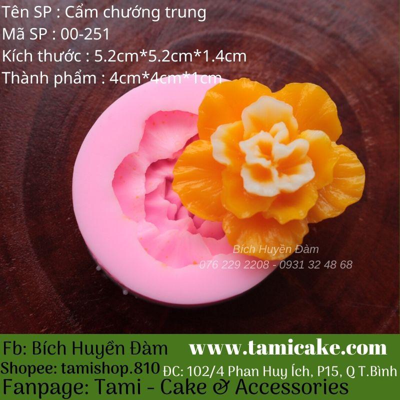 Khuôn Silicon 4D Rau Câu Hoa Nổi - Cẩm Chướng Trung