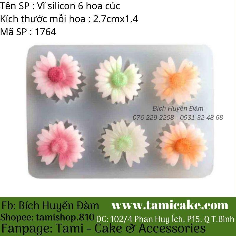 Khuôn silicon vĩ 6 hoa cúc 1764