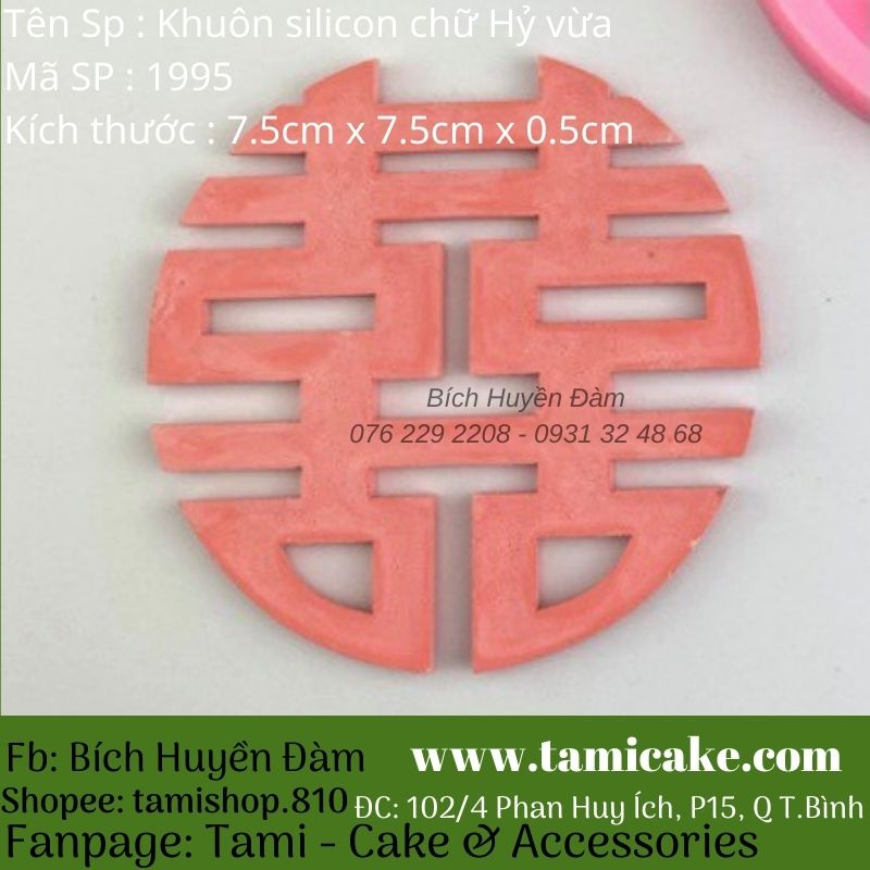 Khuôn silicon chữ Hỷ size vừa 1995