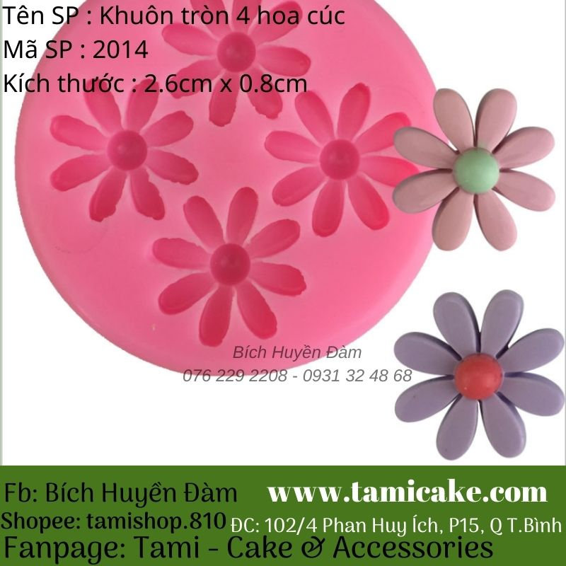 Khuôn silicon tròn 4 hoa cúc 2014