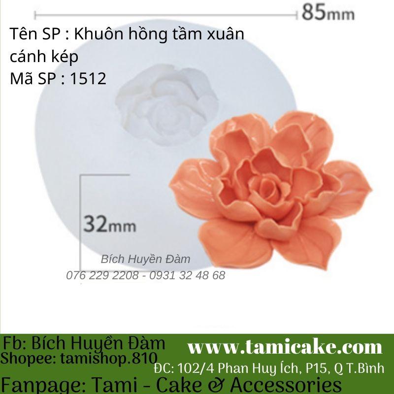 Khuôn silicon hoa hồng tầm xuân cánh kép 1512