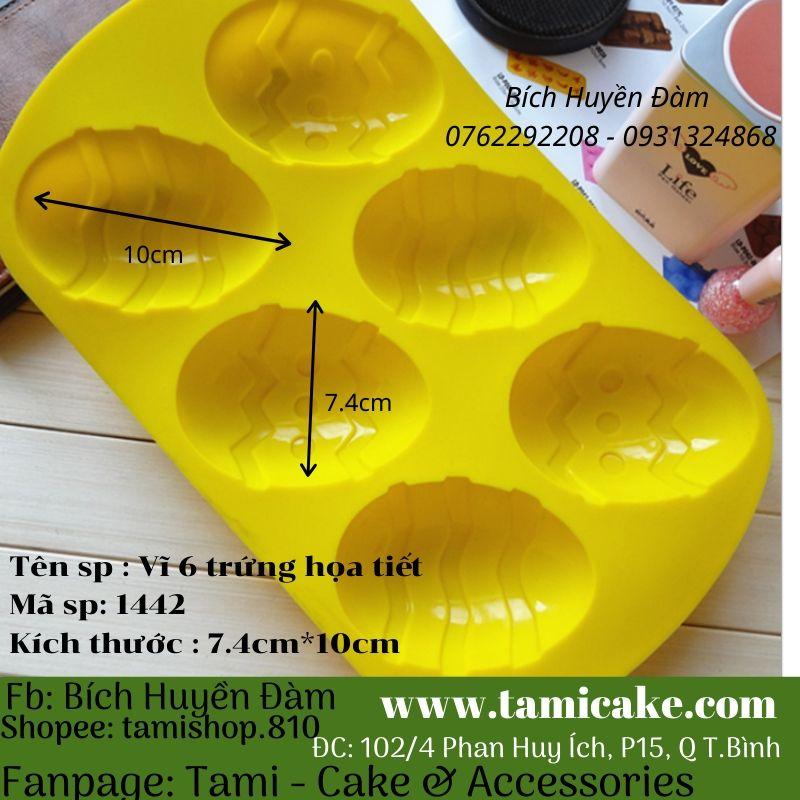 Khuôn silicon vĩ tròn 6 trứng họa tiết
