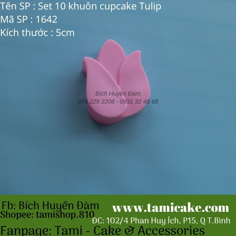Set 10 khuôn silicon cupcake hoa tulip 5cm