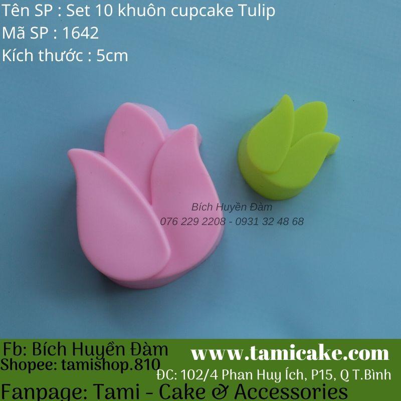 Set 10 khuôn silicon cupcake hoa tulip 3cm