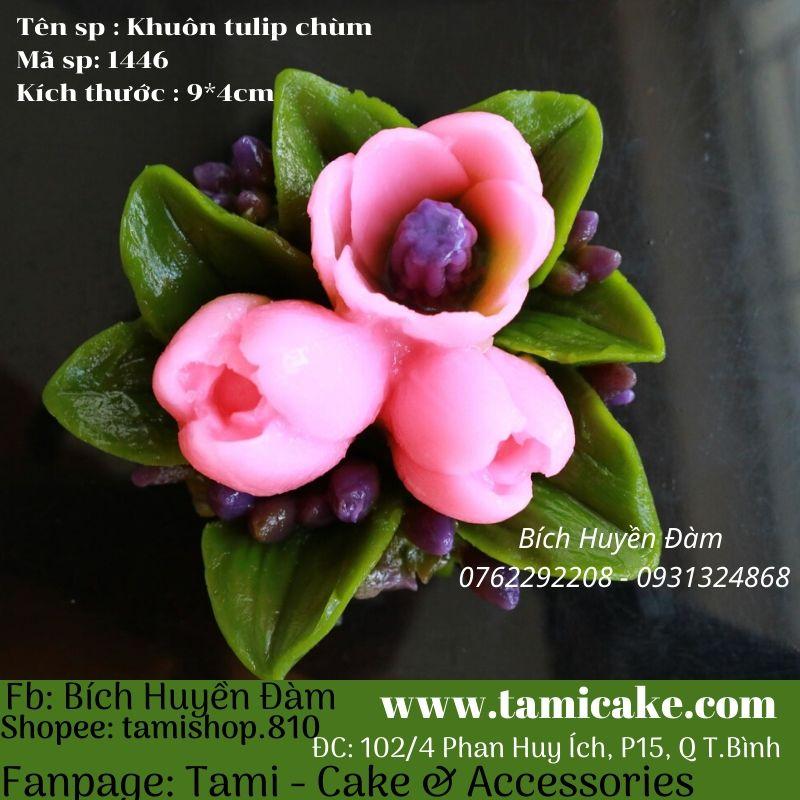 Khuôn silicon hoa Tulip chùm 1445