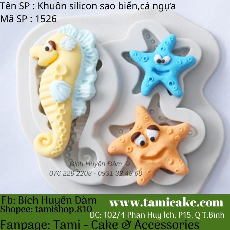 Khuôn silicon sao biển, cá ngựa 1526