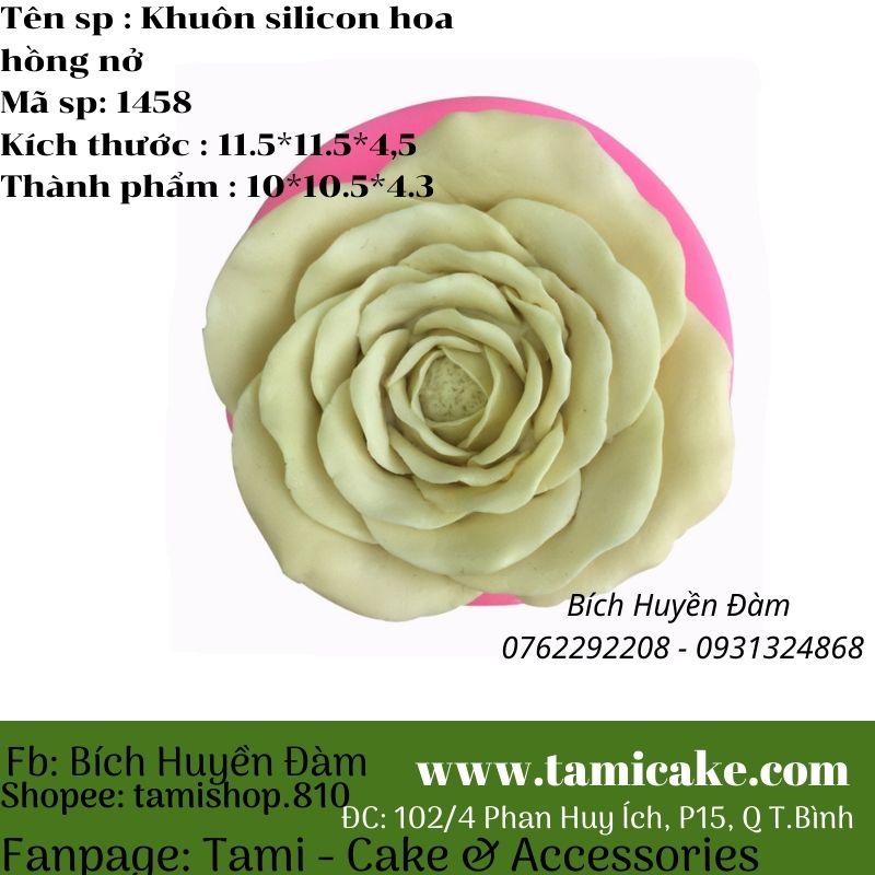 Khuôn silicon hoa hồng nở 1458