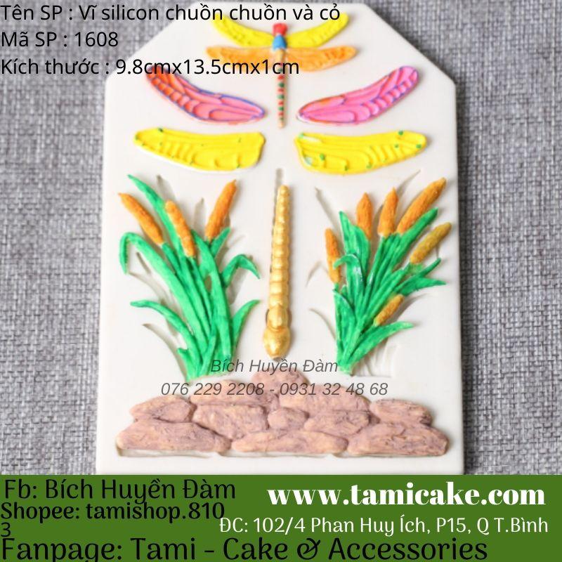 Vĩ silicon chuồn chuồn và cỏ 1608
