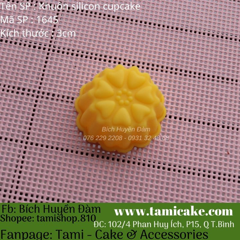 Set 10 khuôn cupcake silicon hoa tim 3cm 1645